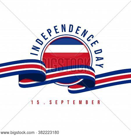 Costa Rica Independence Day With Flag Ribbon Vector Illustration. Good Template For Costa Rica Indep