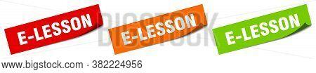 E-lesson Sticker. E-lesson Square Isolated Sign. Label
