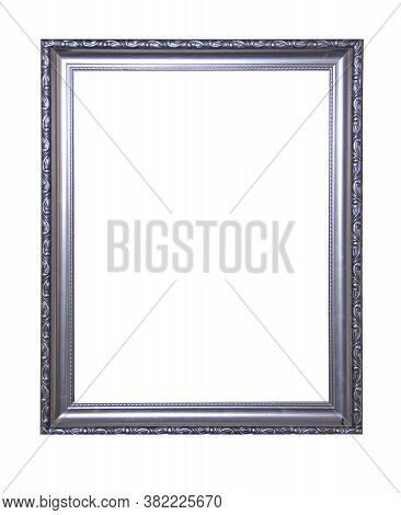 Silver Plated Frame Isolated On White Background. Vintage Old Antique Silver Painted Picture Frame.