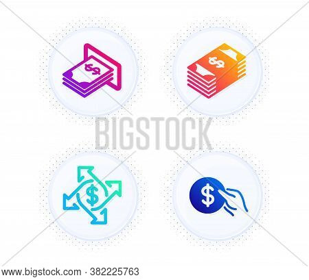 Payment Exchange, Atm Money And Usd Currency Icons Simple Set. Button With Halftone Dots. Payment Si