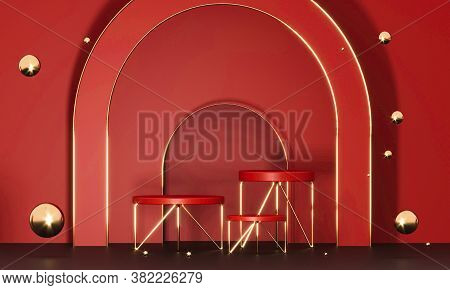 3d Rendering Red Podium Geometry With Gold Elements. Product Presentation Blank Podium. Minimal Scen