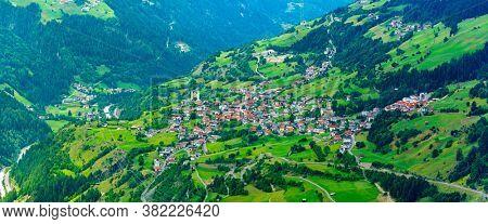 Aerial view on Flies Town, Alps Mountains, Tirol, Austria  - Beautiful Austrian Town Flies Located  in Tirol, Austria