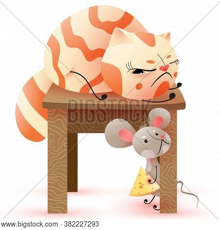 Cute Illustration Of Cat With One Open Eye On Backless Stool And Mouse With Piece Of Cheese Under Ba