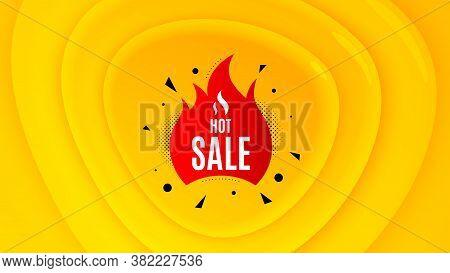 Hot Sale Badge. Geometric Plastic Design Banner. Discount Banner Shape. Coupon Tag Icon. Orange Shap