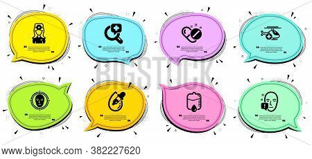 Medical Helicopter, Medical Pills And Face Detect Signs. Chat Bubbles With Quotes. Eye Drops, Face A