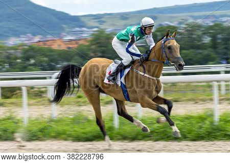 Pyatigorsk,russia - August 23,2020:horse Race For The Marshal Semyon Budyonny Prize.ahead Master Joc