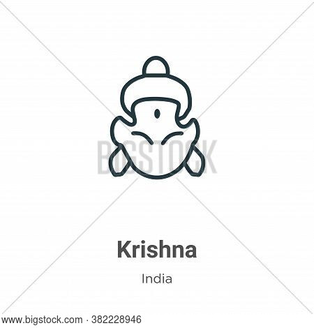 Krishna icon isolated on white background from india collection. Krishna icon trendy and modern Kris