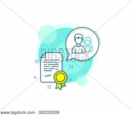Users Or Teamwork Sign. Certification Complex Icon. Group Line Icon. Male And Female Person Silhouet