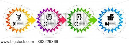Loan House, Finance And Money Exchange Icons Simple Set. Timeline Steps Infographic. Payment Sign. D