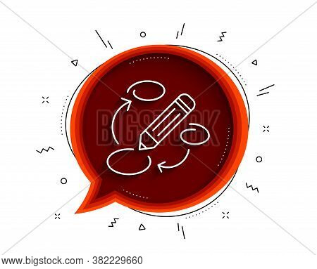 Keywords Line Icon. Chat Bubble With Shadow. Pencil Symbol. Marketing Strategy Sign. Thin Line Keywo