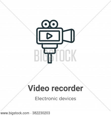 Video recorder icon isolated on white background from electronic devices collection. Video recorder