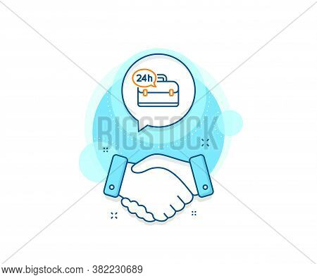 Support Help Sign. Handshake Deal Complex Icon. 24 Hour Service Line Icon. Feedback Symbol. Agreemen
