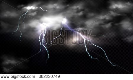 Lightning Strikes And Thundercloud, Electric Discharge And Storm Cloud, Impact Place Or Magical Ener