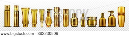 Gold Cosmetic Bottles Mockup, Golden Cosmetics Tubes For Essence, Cream Or Lotion, Oil, Shampoo Beau