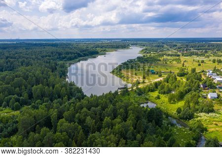 A Large Reservoir Near The Village Of Ushakovka, Ivanovo Region On A Summer Day.