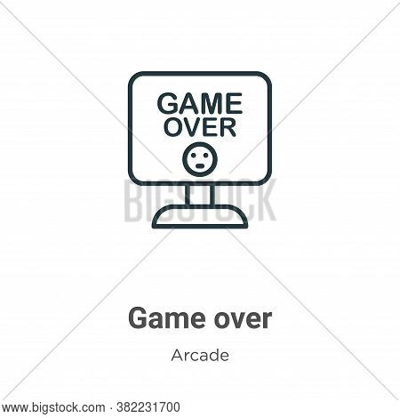 Game over icon isolated on white background from arcade collection. Game over icon trendy and modern