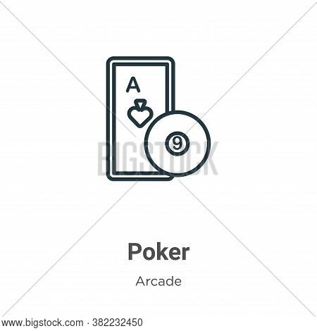 Poker icon isolated on white background from entertainment collection. Poker icon trendy and modern
