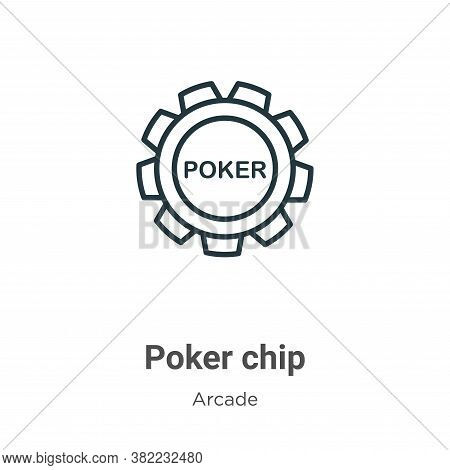 Poker chip icon isolated on white background from arcade collection. Poker chip icon trendy and mode