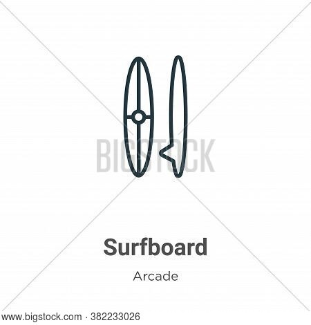 Surfboard icon isolated on white background from entertainment collection. Surfboard icon trendy and
