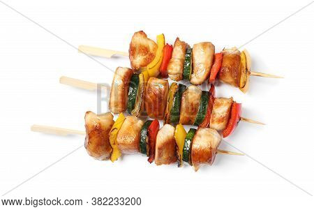 Delicious Chicken Shish Kebabs With Vegetables On White Background, Top View