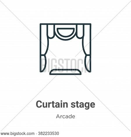 Curtain stage icon isolated on white background from entertainment collection. Curtain stage icon tr