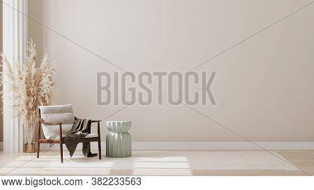 Minimalist Modern Living Room Interior Background, Living Room Mock Up In Scandinavian Style, Empty
