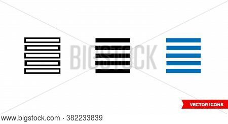 Align Justify Icon Of 3 Types Color, Black And White, Outline. Isolated Vector Sign Symbol.