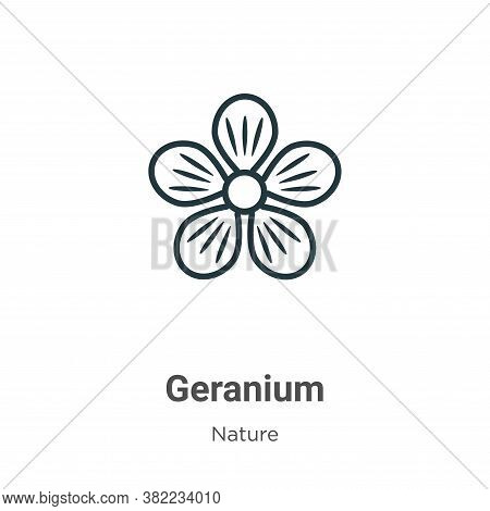 Geranium icon isolated on white background from nature collection. Geranium icon trendy and modern G
