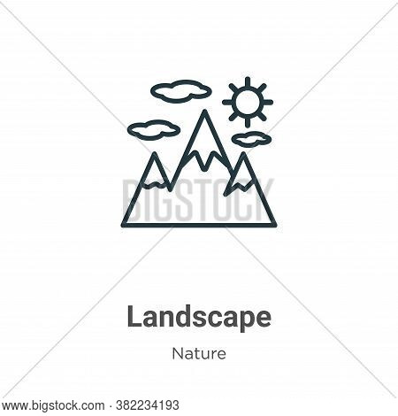 Landscape icon isolated on white background from nature collection. Landscape icon trendy and modern