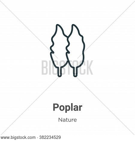 Poplar Icon From Nature Collection Isolated On White Background.