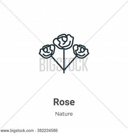 Rose icon isolated on white background from nature collection. Rose icon trendy and modern Rose symb
