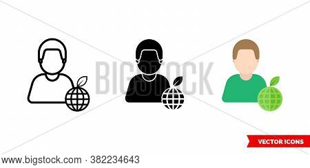 Ecologist Icon Of 3 Types Color, Black And White, Outline. Isolated Vector Sign Symbol.