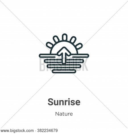 Sunrise icon isolated on white background from nature collection. Sunrise icon trendy and modern Sun