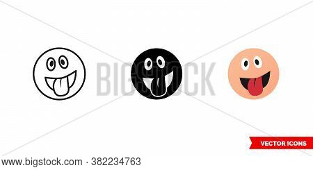Excited Emotion Icon Of 3 Types Color, Black And White, Outline. Isolated Vector Sign Symbol.