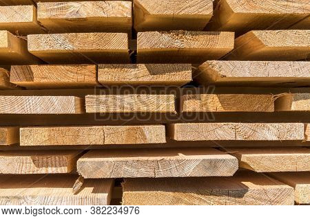 Detail Wooden Planks. Air-drying Timber Stack. Wood Air Drying (seasoning Lumber Or Wood Seasoning).