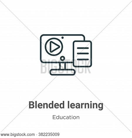 Blended learning icon isolated on white background from education collection. Blended learning icon