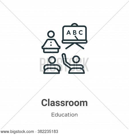 Classroom icon isolated on white background from education collection. Classroom icon trendy and mod