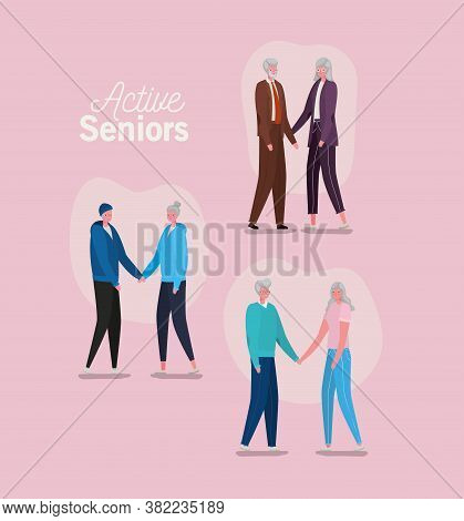 Set Of Active Seniors Woman And Man Cartoons On Pink Background Design, Activity Theme Vector Illust