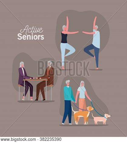Set Of Active Seniors Woman And Man Cartoons On Brown Background Design, Activity Theme Vector Illus