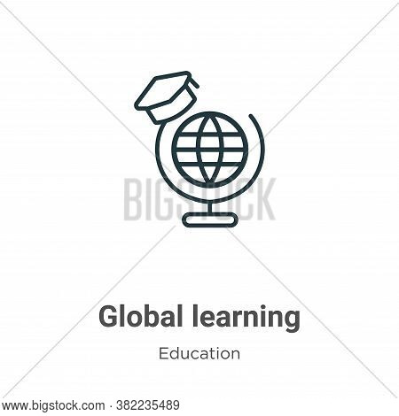 Global learning icon isolated on white background from online learning collection. Global learning i