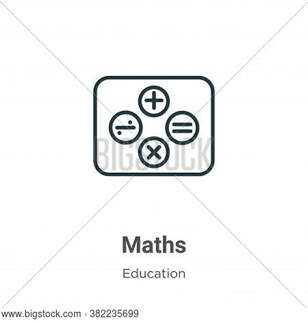 Maths icon isolated on white background from education collection. Maths icon trendy and modern Math