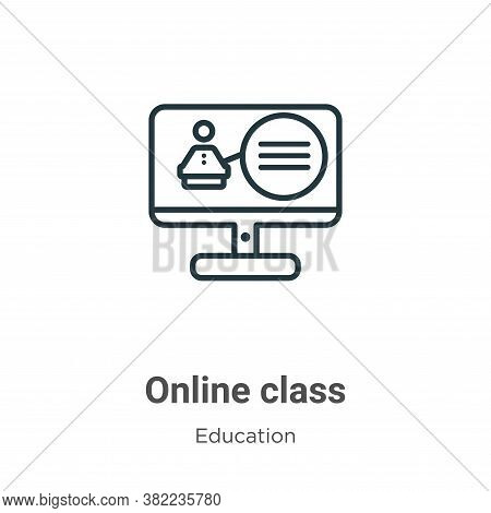 Online class icon isolated on white background from online learning collection. Online class icon tr