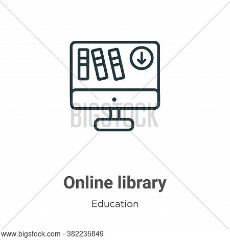 Online library icon isolated on white background from education collection. Online library icon tren