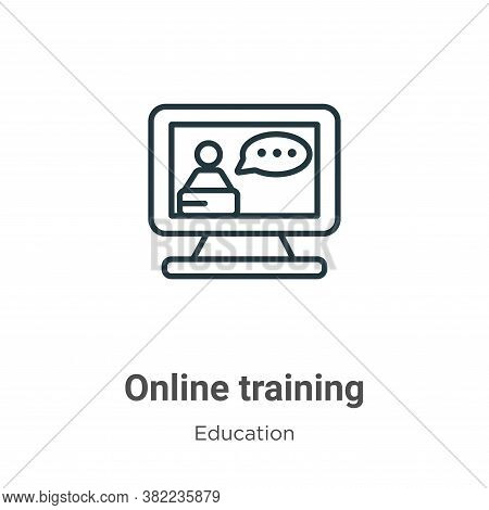 Online training icon isolated on white background from education collection. Online training icon tr