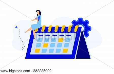 Calendar Schedule Week Vector Concept Illustration. Student Appointment Employee Agenda Man And Woma