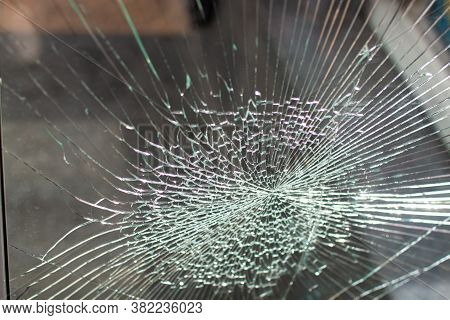 Broken Glass Window. Cracks On Glass Texture Broken Glass Transparent.