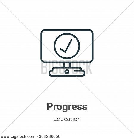 Progress icon isolated on white background from online learning collection. Progress icon trendy and
