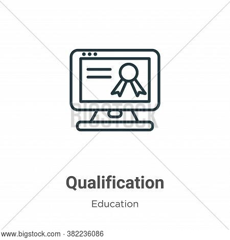 Qualification icon isolated on white background from online learning collection. Qualification icon