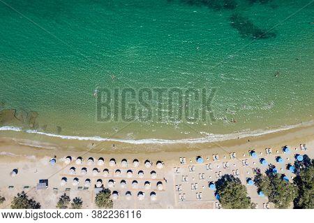 Aerial Drone View Of Otzias Beach A Summer Sunny Day. Kea Tzia Island, Greece.