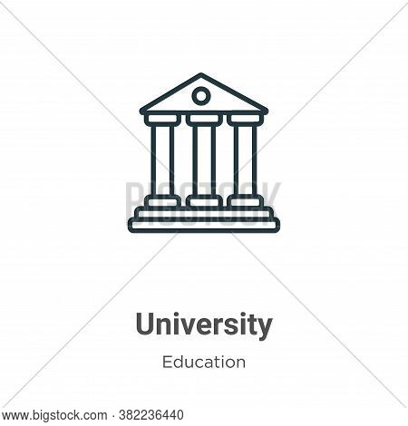 University icon isolated on white background from education collection. University icon trendy and m